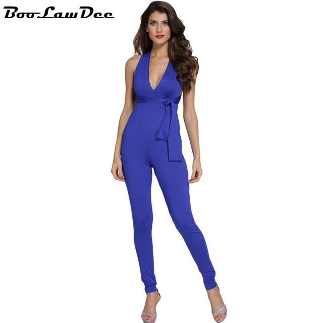 Multiway BooLawDee V Profundo neck bandage halter mulheres jumpsuit sem mangas backless cintura alta lápis manguito rosa azul S M L 1B206