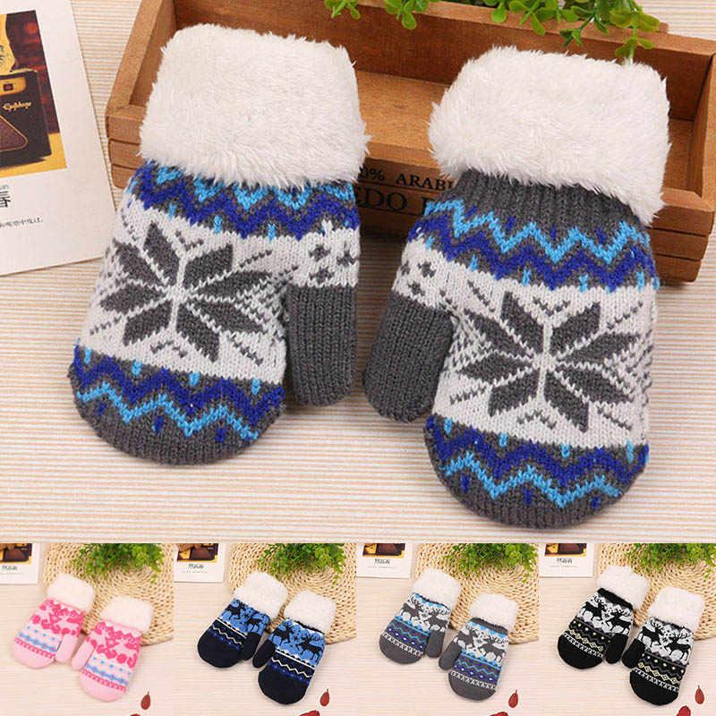 2751b3d50 Cute Baby Winter Gloves Warm Knitted Boys Girls Full Finger Gloves Cartoon  Deer Baby Mittens Children