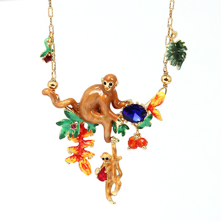 2017 Hand Painted Enamel Mix Colar Monkey Be Listed Gold Choker Animales Necklaces & pendants collares mujer 2017 Collane Donna