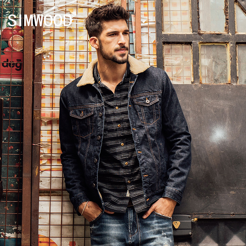 SIMWOOD 2018 New Winter Fashion Denim Jacket Men Casual Jeans Coats Outerwear Thicken Slim Fit Brand Clothing NJ6515