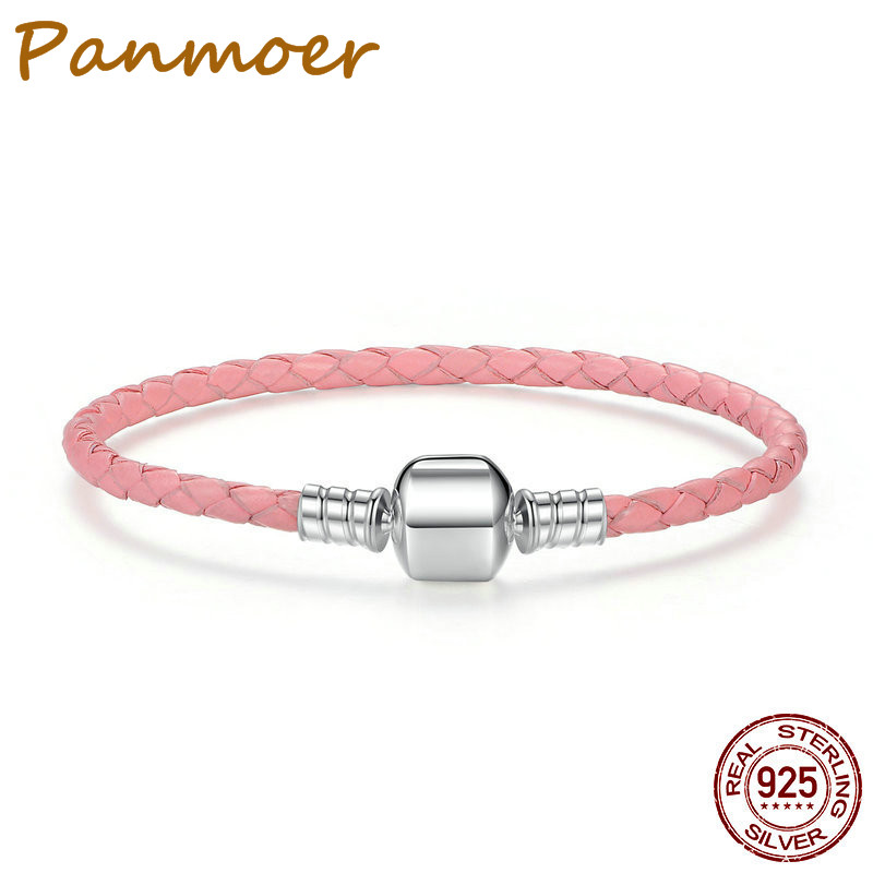 925 Sterling Silver Color Genuine Leather Snake Chain Bracelets for Women fit pandor Original DIY love bracelet Fine Jewelry