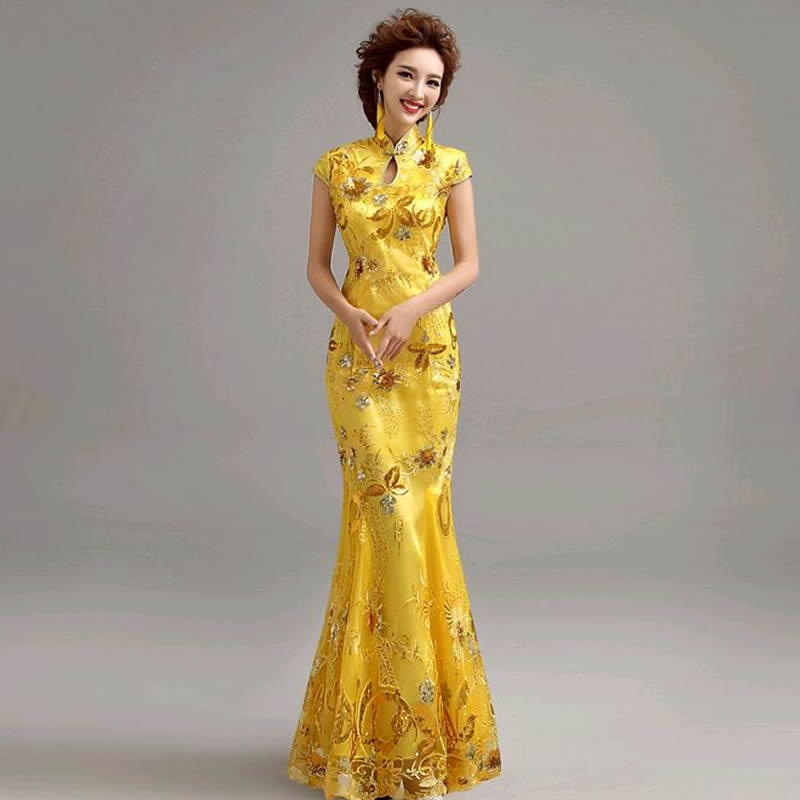 Free Shipping 2016 Fashion Lace Bride Wedding Qipao Yellow Cheongsam Chinese Traditional Dress Slim Qi Pao