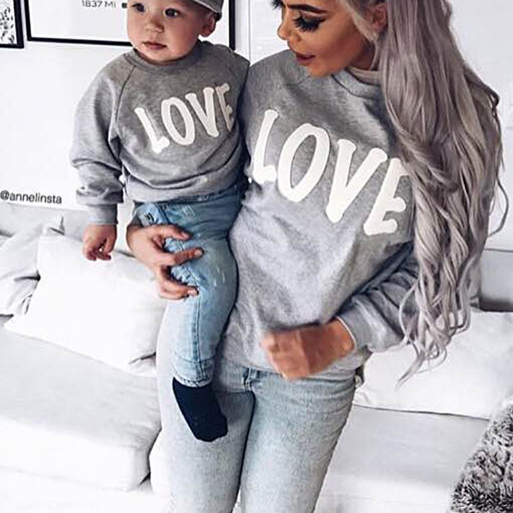 Spring Autumn Baby Boy Girl Cotton Letter Print Long Sleeve Mom Family Matching Sweatshirt Outerwear Clothes Hot Sale