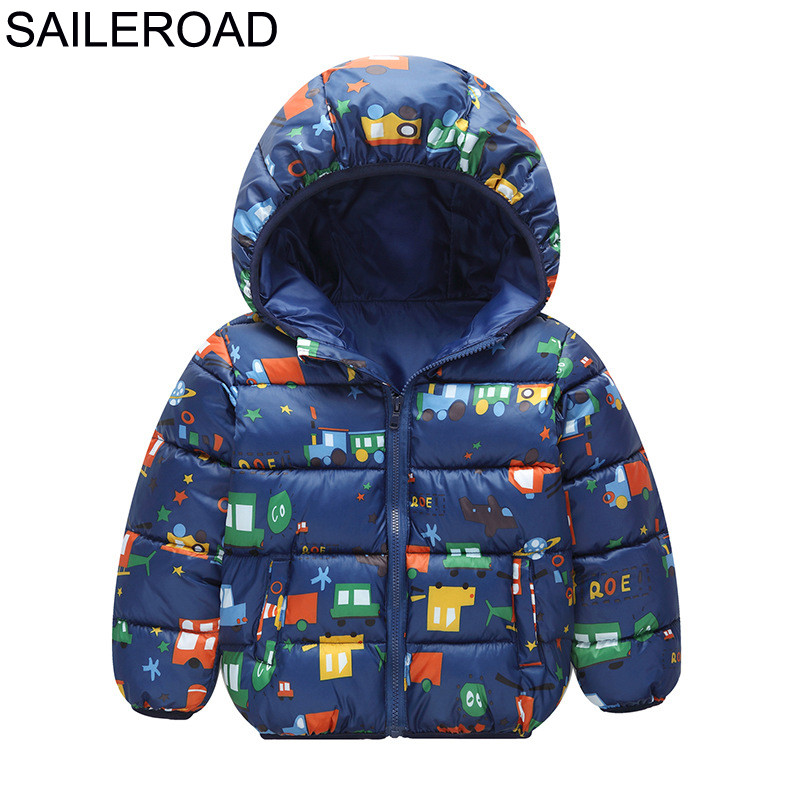 SAILEROAD Winter Boy Coat Cartoon Car Vehicle Down Jacket for a Winter Boy Hood Coat for Children Clothes Zipper Kids Outerwear
