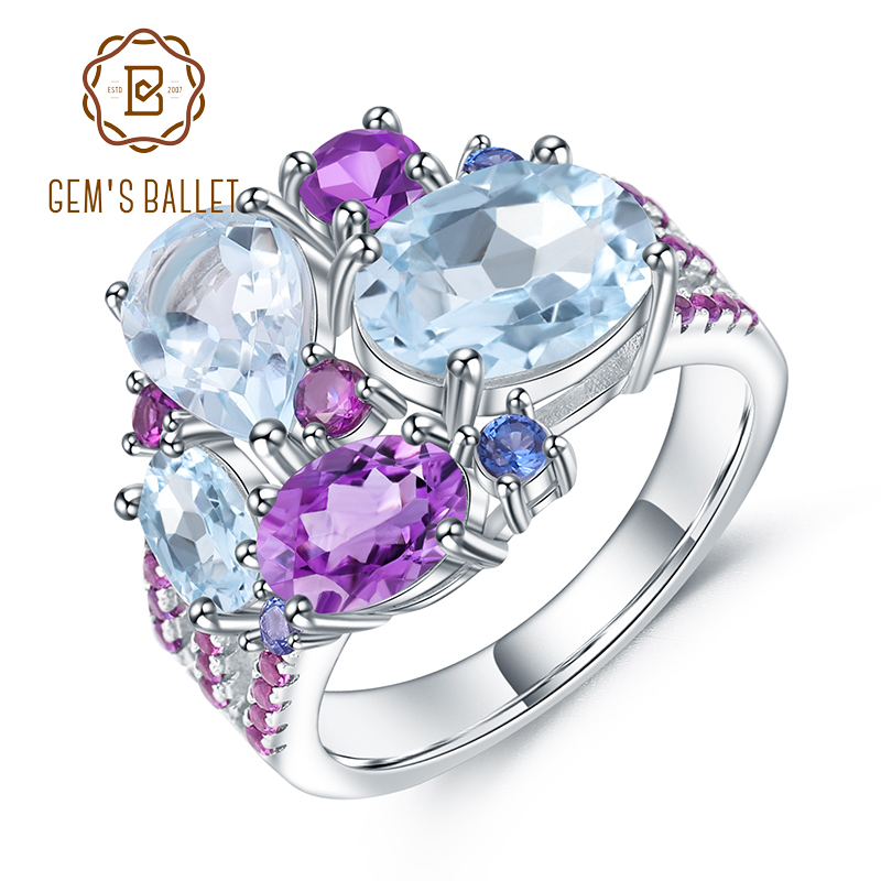 GEM'S BALLET Natural Sky Blue Topaz Amethyst Rings Fine Jewelry 925 Sterling Silver Gemstone Candy Ring for Women Bijoux