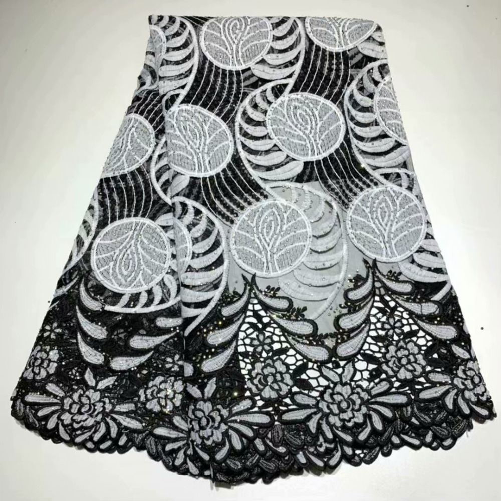 NEW Black White African French Cotton Embroidered Net Lace Fabrics 2019 High Quality Nigerian Mesh Lace