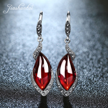 JIASHUNTAI Retro 100% 925 Sterling Silver Earrings For Women Vintage Natural Chalcedony Garnet Gemstone Earrings Jewelry Female