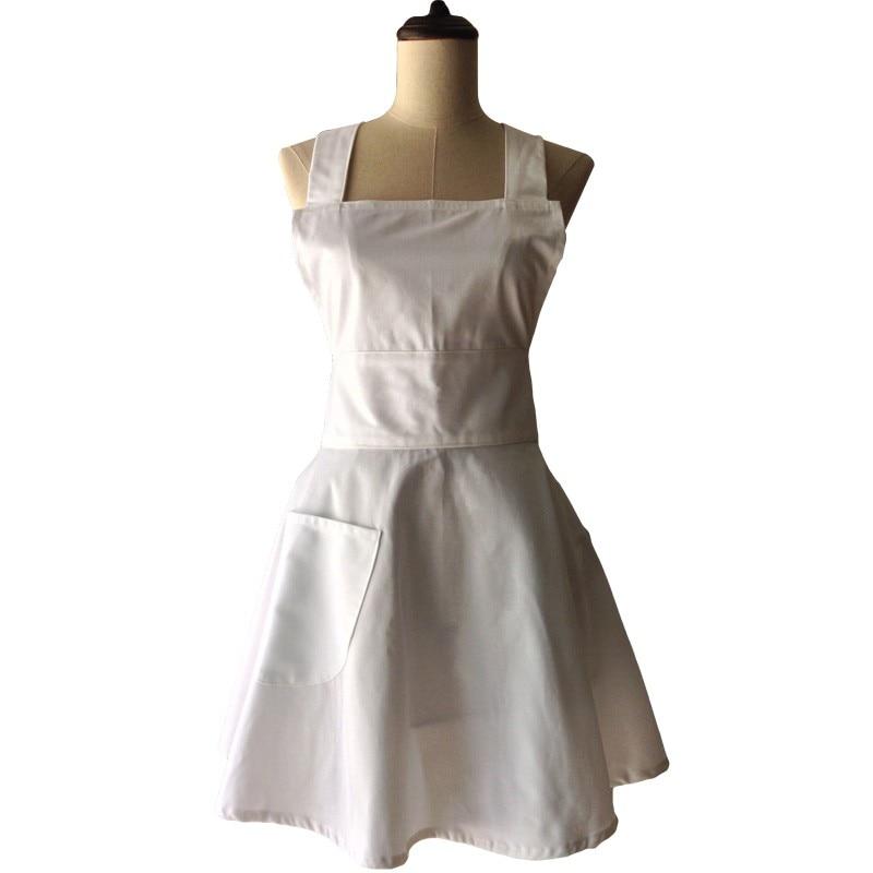 Tablier de cuisine en coton blanc uni pour femme cuisinière serveuse - Marchandises pour la maison