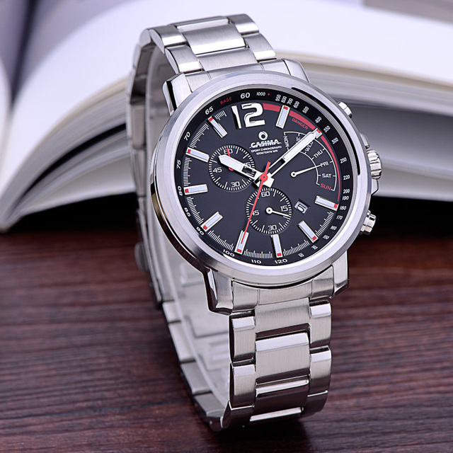 Mens Watches Top Brand Luxury sports Watch Men Chronograph 24 Hours Clock Silver White Full Steel Quartz Watch relogio masculino