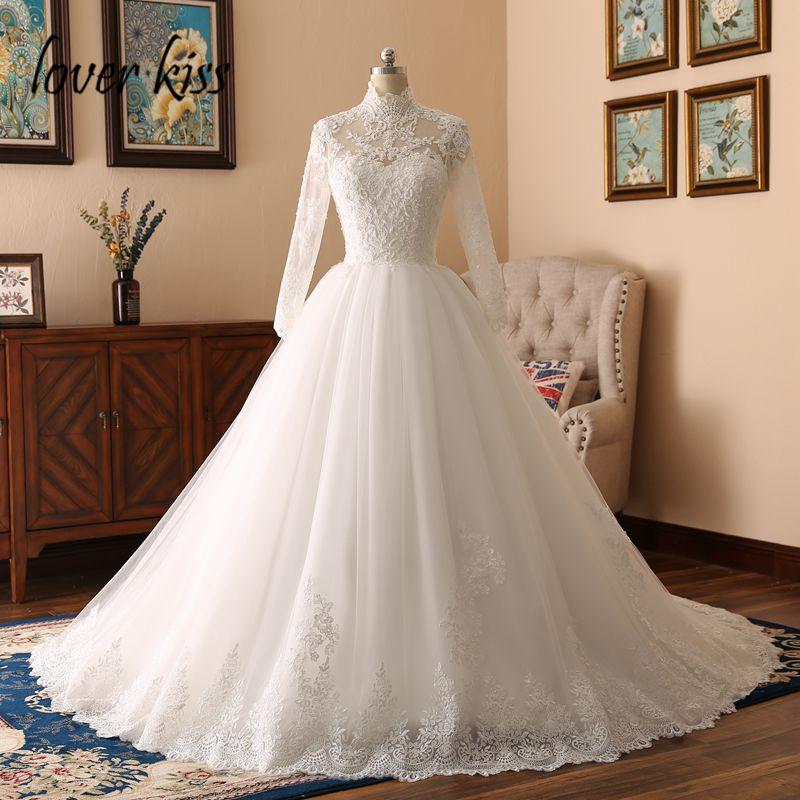 Lover Kiss 2018 Elegant High Neck Long Sleeve Lace Muslim Wedding Dress For Bride Islamic Gowns Wedding Bridals Vestido De Noiva