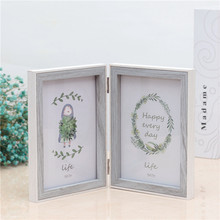 Wooden Childrens Photo Frame Two Fold 6/7/8 Inch Decorative Home Decoration Nordic Wind Booth