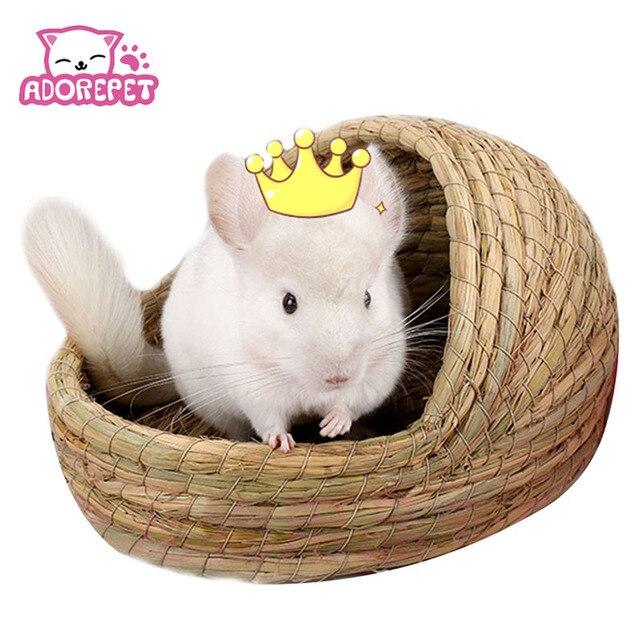 Природный соломы маленький кролик животных хомяк дом кровать зимние теплые guinea pig Ежик Шиншилла дом клетка гнездо хомяк аксессуар