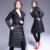 Pato para baixo mulheres jaqueta de inverno preto longo parkas casaco espessamento Fêmea Elegante Agasalho Fino Brasão duck down Alta Quality6263