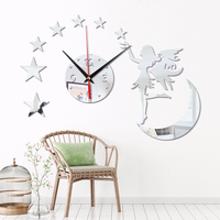 Creative Angel Girl Moon Stars Living Room DIY Silent Clock European Clock Wall Clock Fashion Wall Sticker Kids Wall Clock