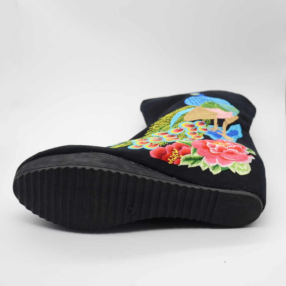 Veowalk Tay Vintage Cũ Bắc Kinh Cotton Thêu Cổ Giữa Giày Bốt Nữ Đế Xuồng Đế Vải Bơm Gót Giày Mujer