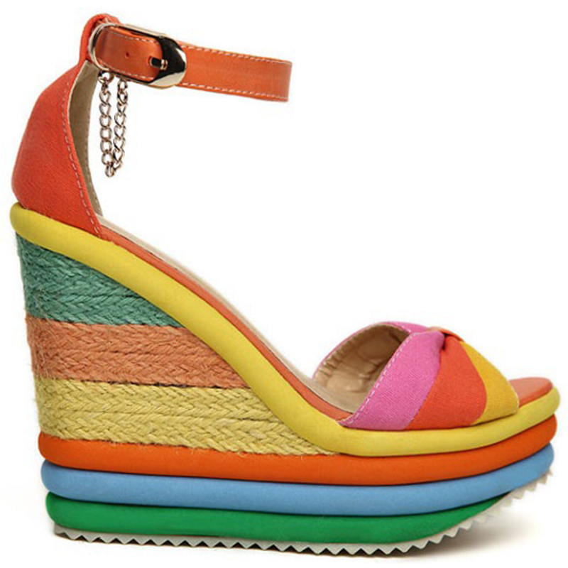 Sugarwest Rainbow Platform Wedge Gladiator Sandals Women Comfort Slip  Resistant Bohemia Summer Shoes Woman Sandalias Mujer WW372-in Women s  Sandals from ...
