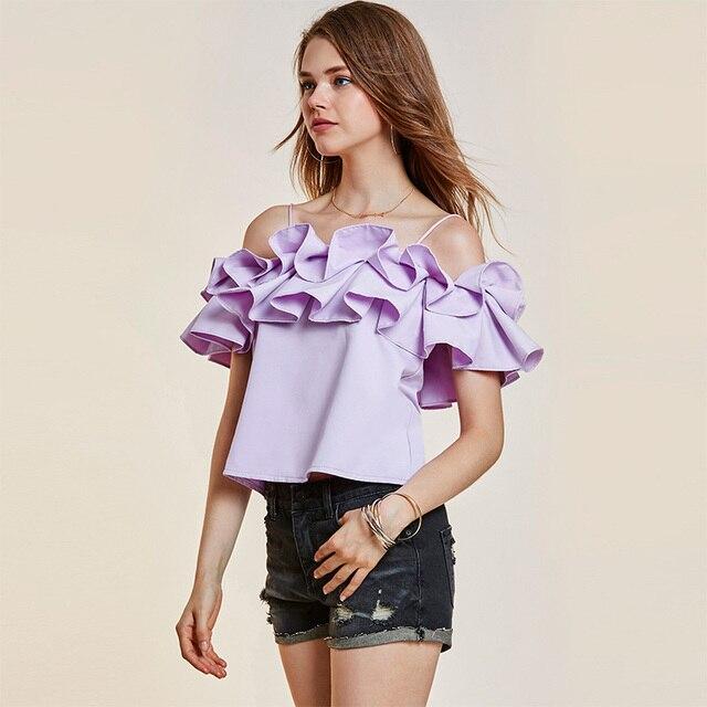 5d2b2d3c 2018 Summer Ruffle Blouse Women Purple Black Backless Sexy Young Girls Tops  Elegant Fashion Sweet Slash