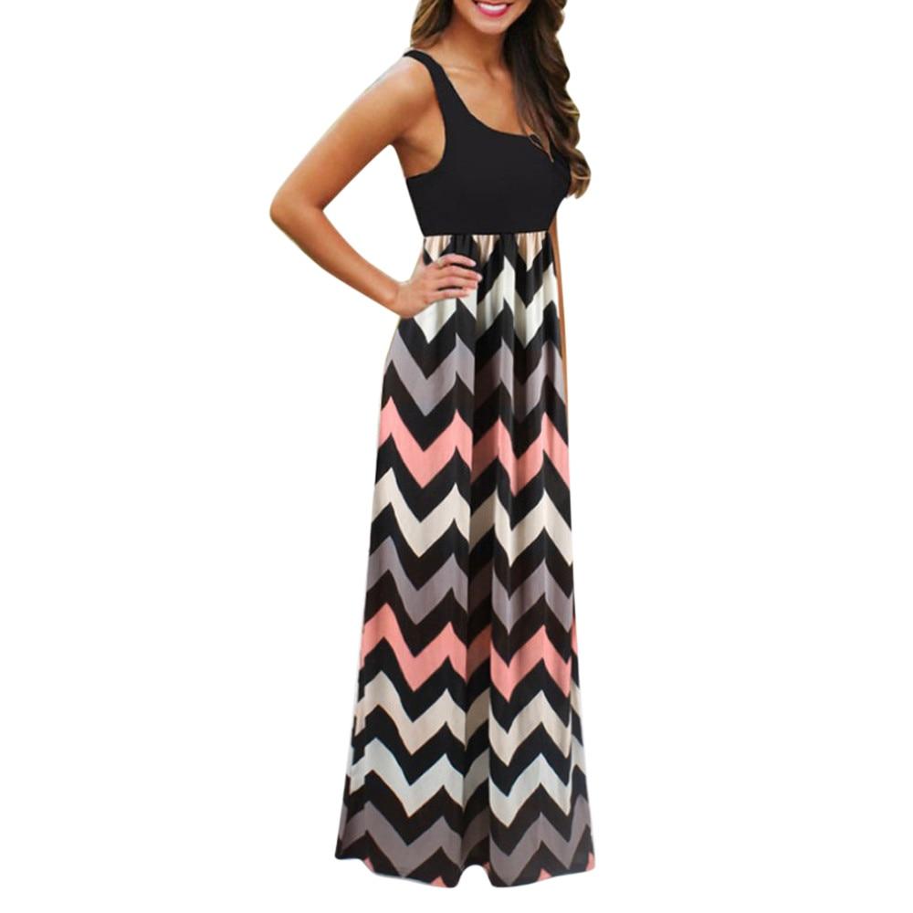 Women dress plus size Bohemia Womens Striped Long Boho Dress Lady Beach Summer Sundrss Maxi Dress May.30 1