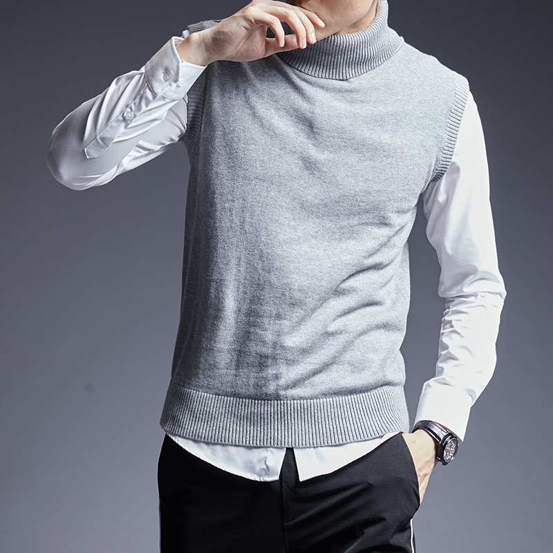2019 Fashion Brand Sweater For Mens Pullovers Warm Slim Fit Jumpers Knitwear Sleeveles Autumn Korean Style Casual Mens Clothes