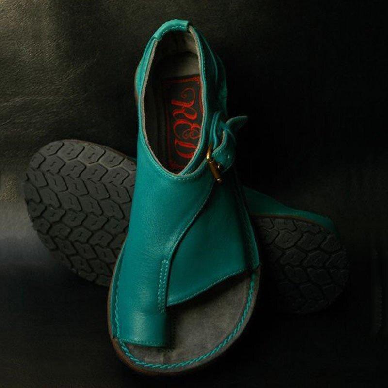 1bb7cebc4763 Cheap Sandalias de verano para mujer moda plana zapatos de punta abierta de  cuero para mujer