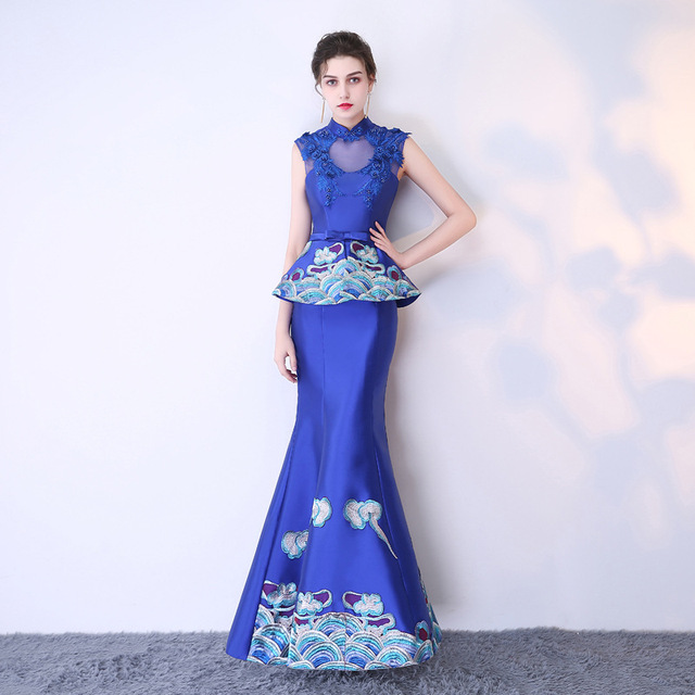 Sexy Blue Wedding Dresses Formal Evening Oriental Dress Bride Chinese  Traditional Cheongsam Modern Qipao Robe Chinoise Femme YSB 5d69549ef859