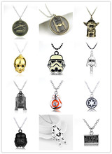 Silver Star Wars Trek Stormtrooper Robot R2D2 Necklace Metal Darth Vader Helmet Necklaces Pendants for Women Men Movie Jewelry