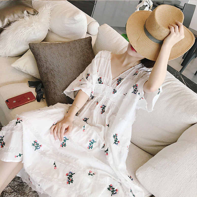 Украинское Настоящее женское платье Vadim, бесплатная доставка, новинка 2019, хлопковое и льняное платье с цветочной вышивкой, Корейская версия, тонкое нежное платье средней длины