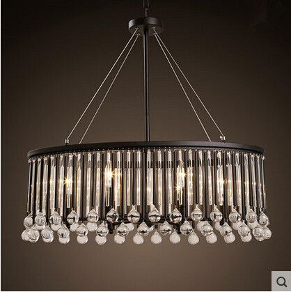 Hot Sale K9 Crystal LED Pendant Light Simple Creative Iron Hanging Lamp Fixtures For Cafe Bar Home Lighting Lamparas Lampen
