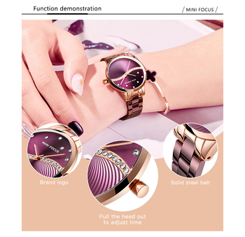 MINI FOCUS Women's Fashion Lady Stainless Steel Strap Waterproof Quartz-Watches 2