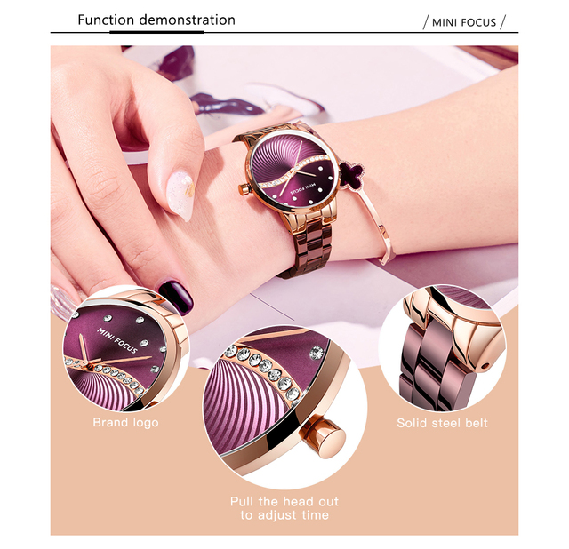 MINI FOCUS Women's Fashion Lady Stainless Steel Strap Waterproof Quartz-Watches 2