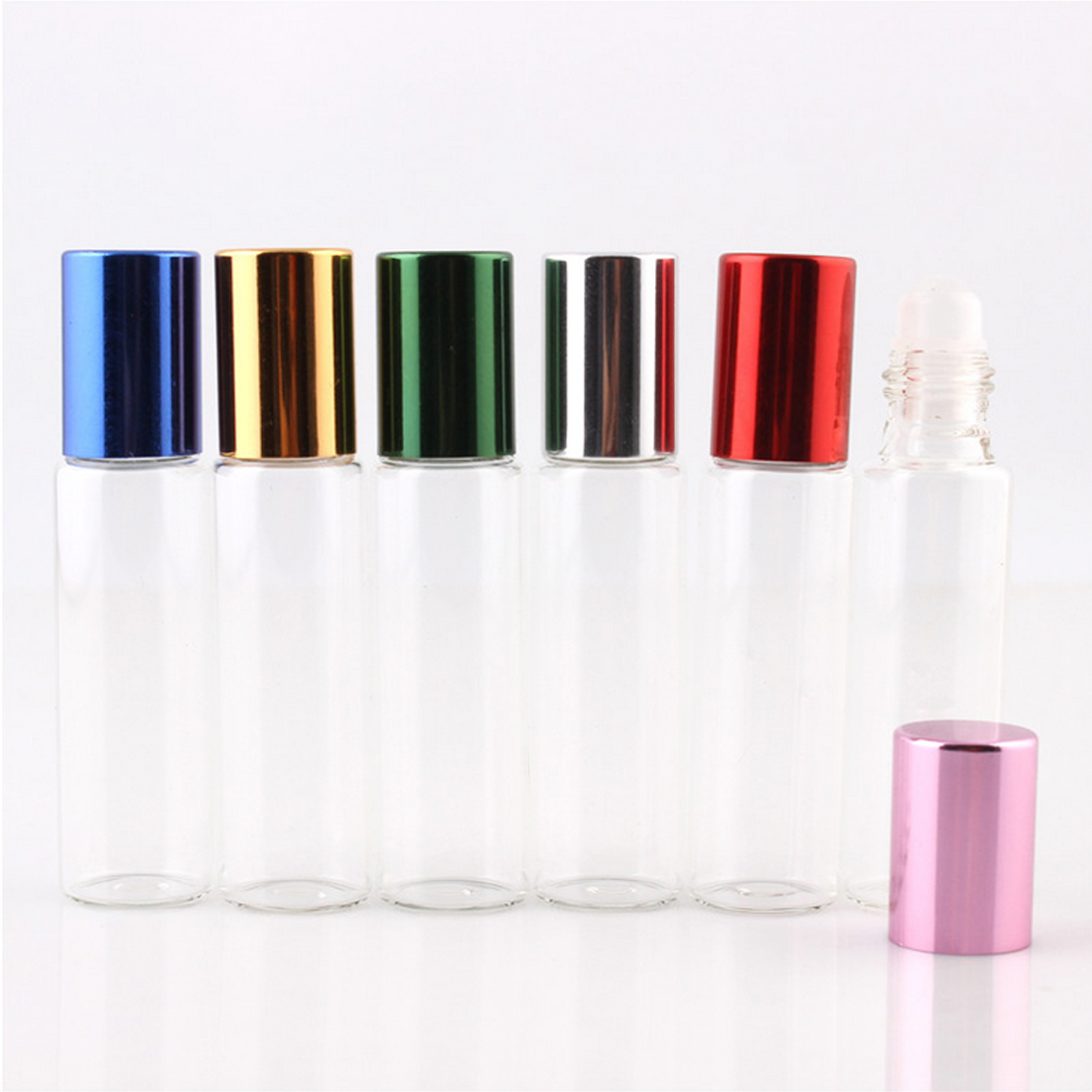 Transparent glass essential oil bottle 10ml mini glass ball bottle 6pcs glass beads perfume bottled travel supplies empty bottle in Refillable Bottles from Beauty Health