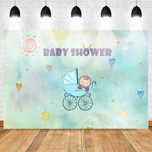 Neoback Newborn Baby Shower Backdrop for Lady Carriage Background Party Banner Love Customized Photographic Backdrops