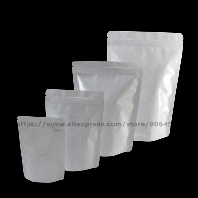 100 Pcs White Stand Up Bag Food Storage Pure Aluminum Foil Zip Lock  Reclosable Standing Pouch For Tea Candy