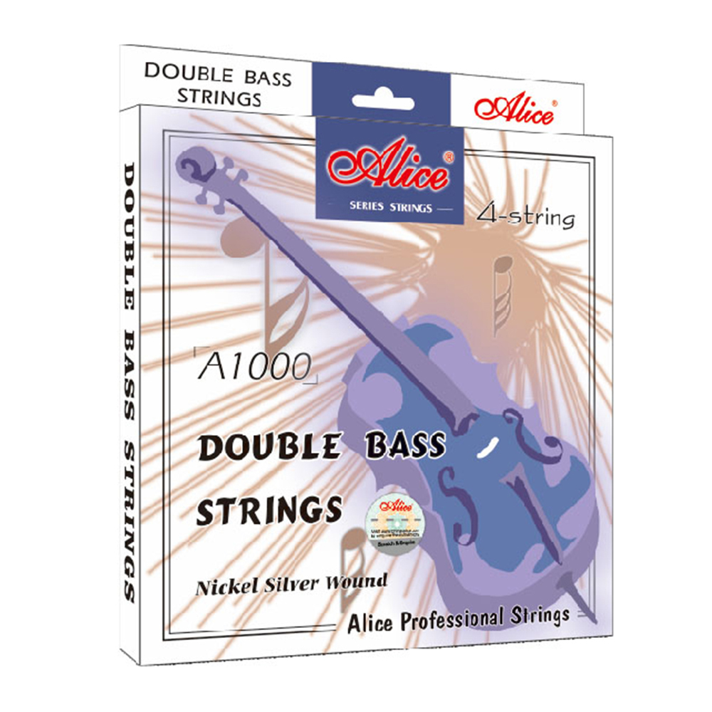 Alice Double Bass Strings Steel Core Aluminum Alloy Wound  for 4 string Double Bass A1000 alice a628 fretless 4 electric bass strings full set 4 strings hexagonal core nickel alloy wound gold ball end