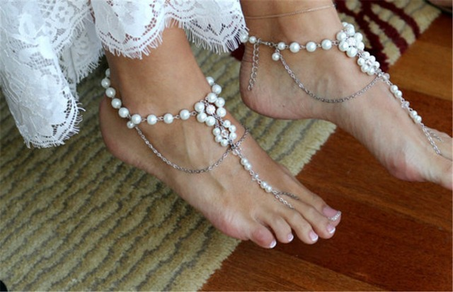 4df610b60bf13 Summer Beach Bridal Foot Beach Wedding Simulated Pearl Barefoot Sandal  Anklet Women Bohemian Jewelry Female Anklets Wholesale