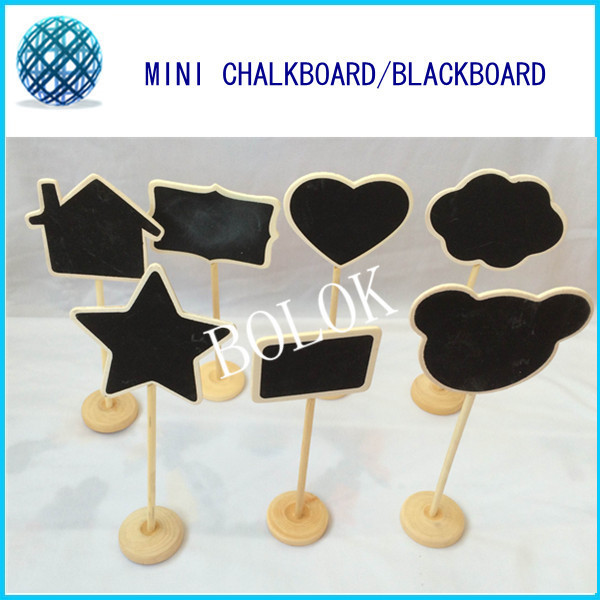 14pcs/lot Mini Chalkboard,chalkboard sign with stand,wedding table numbers,wooden table numbers wedding,7 kinds shape