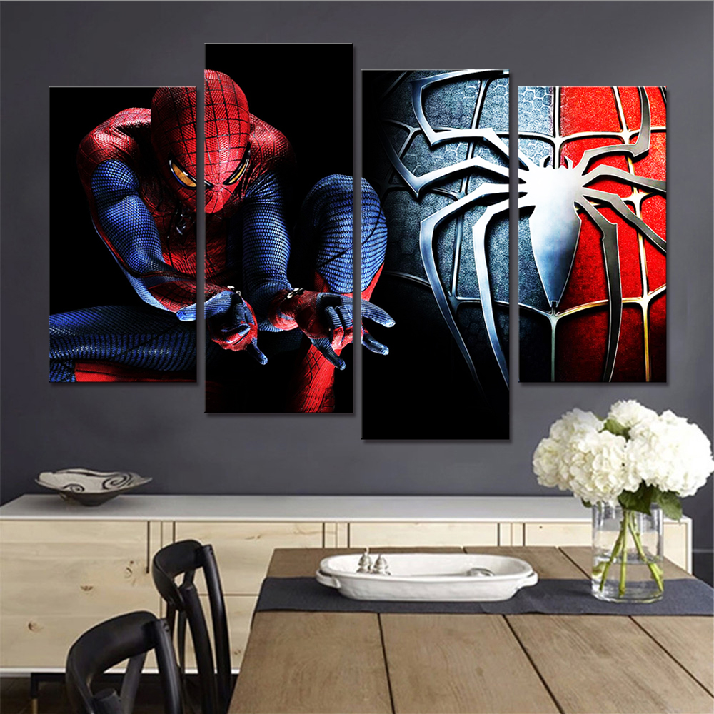 No Framed Spedizione gratuita Spiderman Wall Decor Living Room Immagini Cartoon Canvas Art Painting 4 pezzi Poster e stampe Nordic