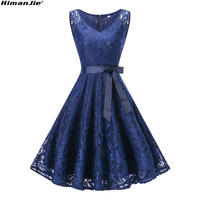 HimanJie Elegant Lace Patchwork Vintage Dresses 2017 Fashion V Neck Sleeveless Hollow Out Tie Waist Bow