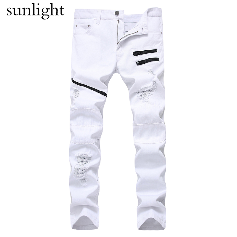 NEW Red White Ripped Denim Pant Knee Hole Zipper Biker Jeans Men Slim Skinny Destroyed Torn Jean Pants cotton jeans