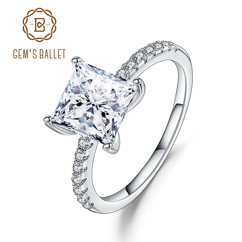 Gem's Ballet 1.49Ct Princess Cut Cubic Zirconia Wedding Band Ring For Women 925 Sterling Silver White CZ Ring Fine Jewelry