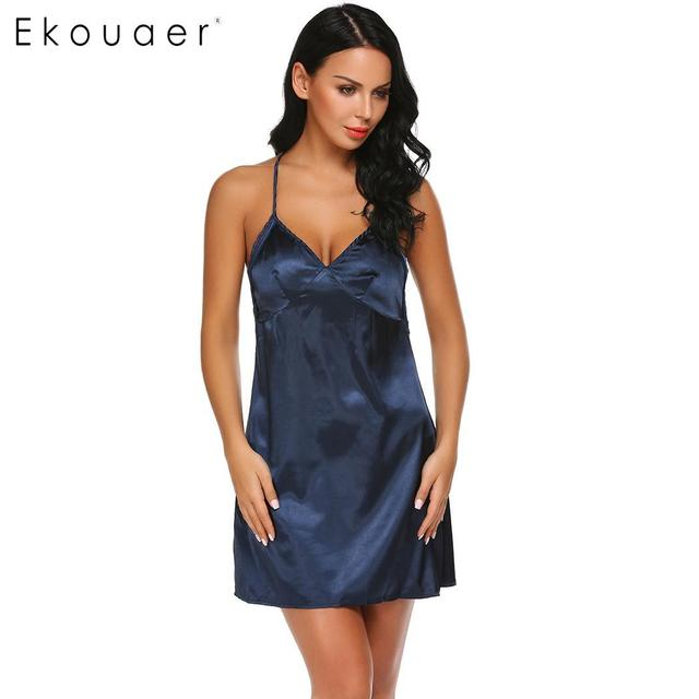 Ekouaer Women Nightgown Satin Night Dress Sleepwear Sexy Chemise Lace  Patchwork Spaghetti Strap Female Lingerie Dress 3 Colors f5cb1ef32