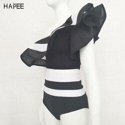 Новинка 2020, летний женский купальник в черно-белую полоску с оборками, комплект бикини из двух частей, купальник с открытыми плечами, сексуа... 4