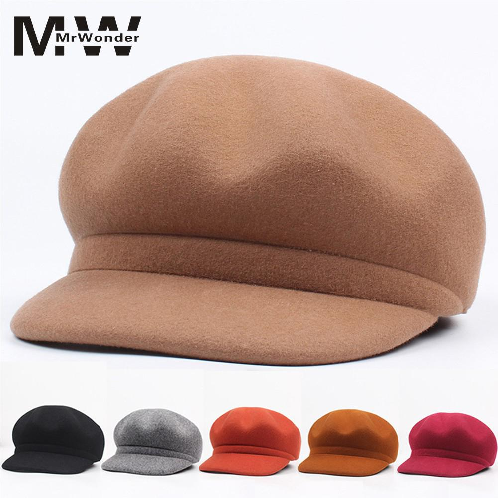 Imported From Abroad Women Concise Beret Wool Hat Fashion Vintage Caps Solid Color Breathable Felt Cap All-matching Wool Women Hats San0