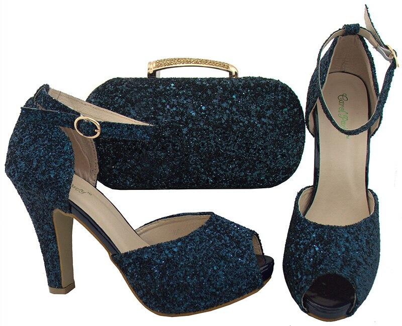 2018 shoes and bag set navy blue SB8081-4 fashion dark blue shoes and bag 2dec1cc33796