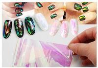 100 m * 5 CM Per Roll LaserHolographic Glas Nail Folies Shiny Laser Folies Nail Art Transfer Sticker Papier Mooie snoep Kleur Sticker