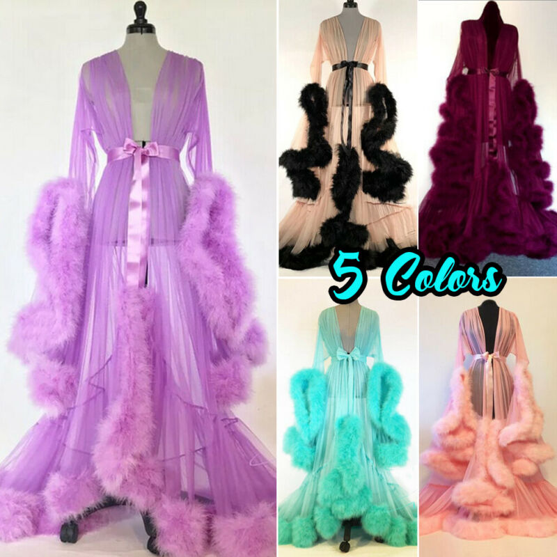 Luxury Sexy Lace Night Robe Women Kimono Night Maxi Dress Gown Mesh Long Sleeve Fur Babydoll Party Sleepwear Nightgrown Robes