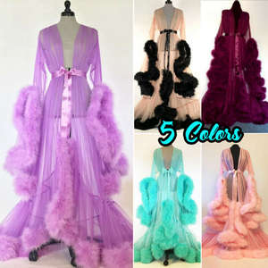 Gown Sleepwear Maxi-Dress Nightgrown-Robes Fur Babydoll Kimono Night Mesh Lace Sexy Women