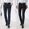 Calças de Algodão dos homens Formais Zipper Calças Skinny Slim Fit Sarja Trabalhar Fora Jeans Business Casual para Homens