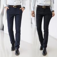 Hommes de Coton Pantalon Formelle Zipper Slim Skinny Fit Twill Travailler Sur Jean Casual Pantalons pour Hommes