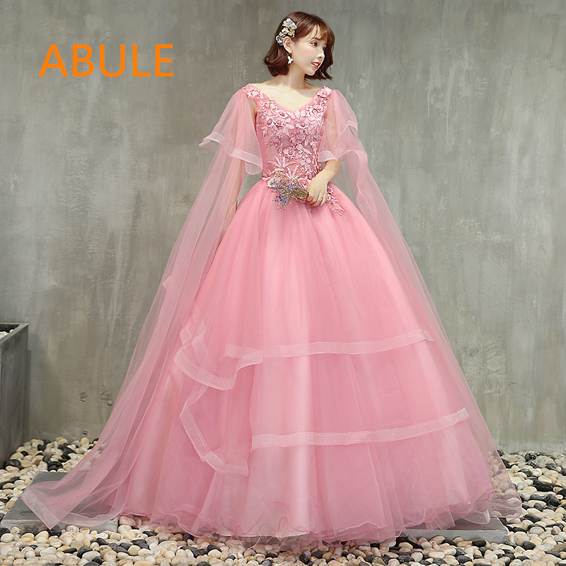 476385e5aea11 abule Quinceanera Dresses 2018 srtapless lace up pink ball gown prom dress  Debutante Gown 15 Years Layer Tulle Custom sizes